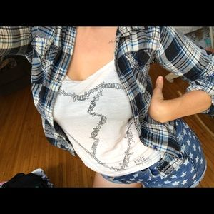 Well loved blue plaid, like flannel button down